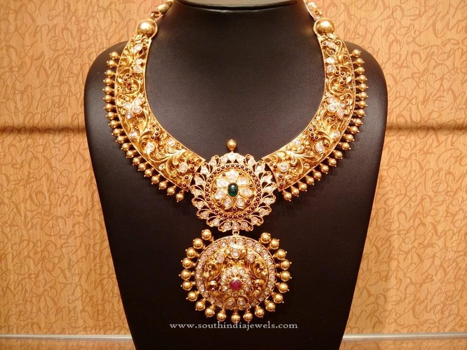 Gold Uncut Diamond Antique Necklace
