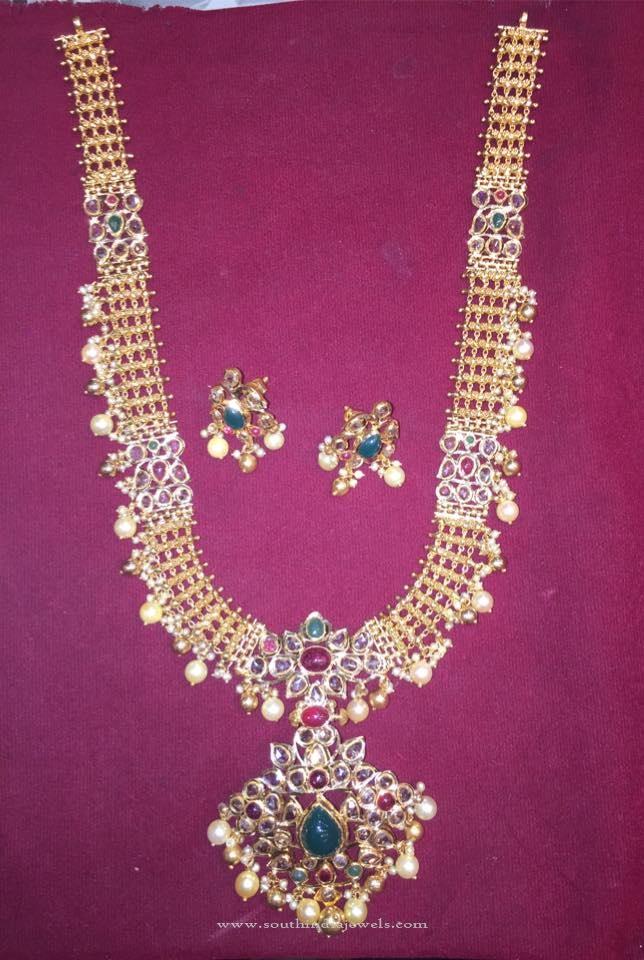 Gold Uncut Diamond Haram Design