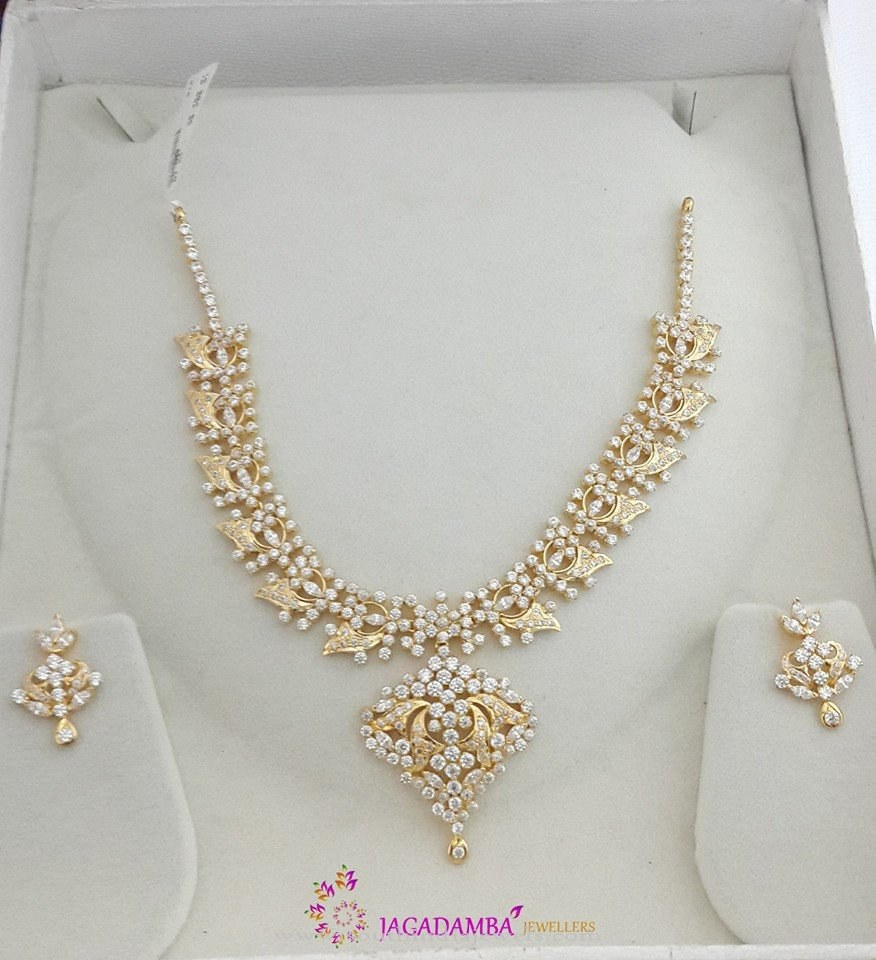 Gold White Stone Necklace Set and Earrings