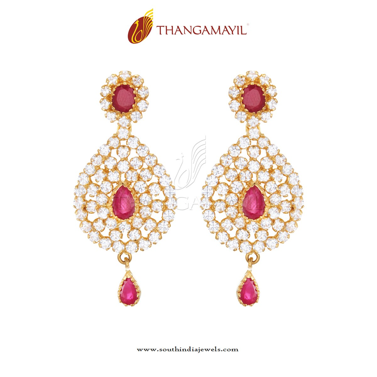Gold Ruby Earring Design