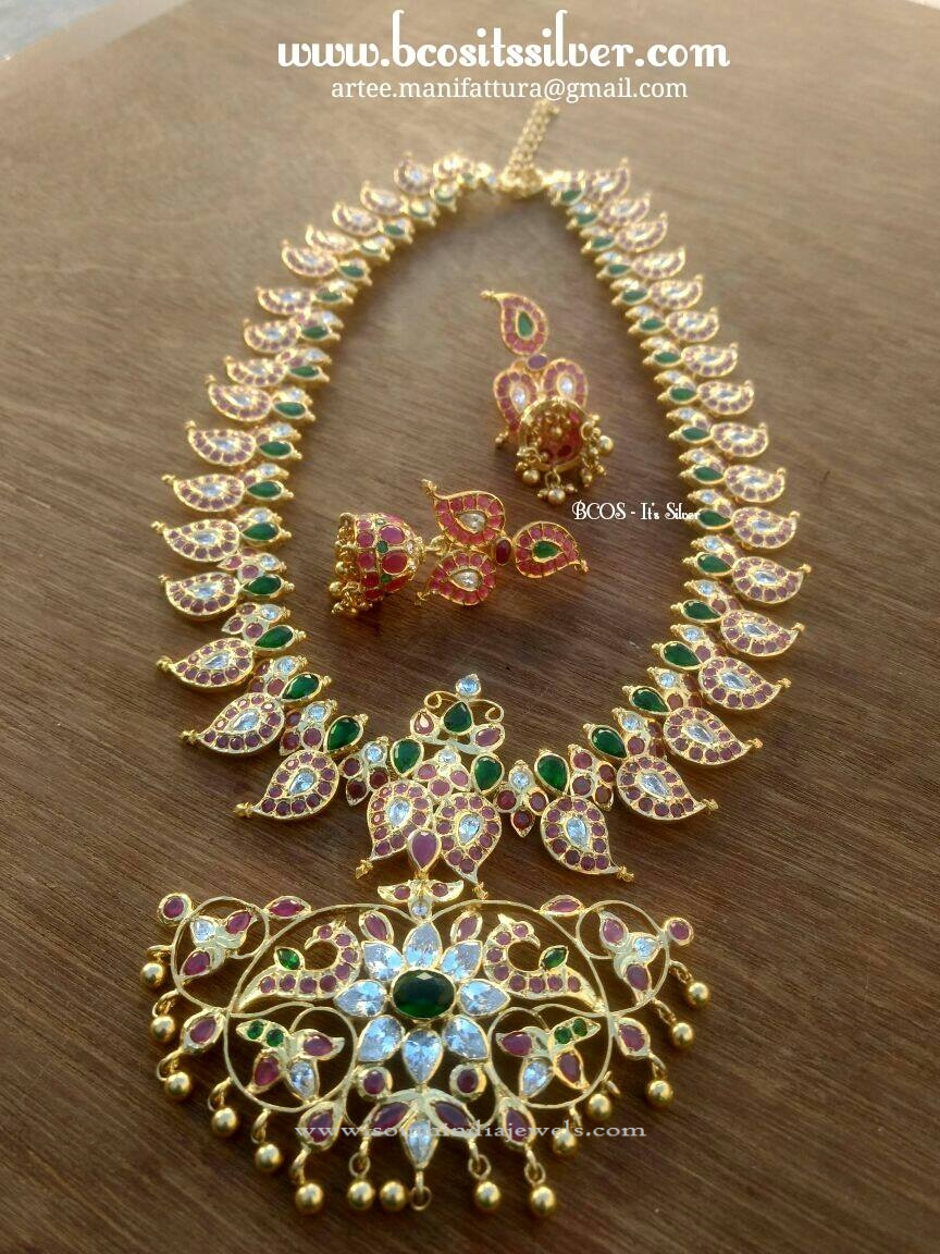 Gold Plated Silver Mango Haram Set South India Jewels