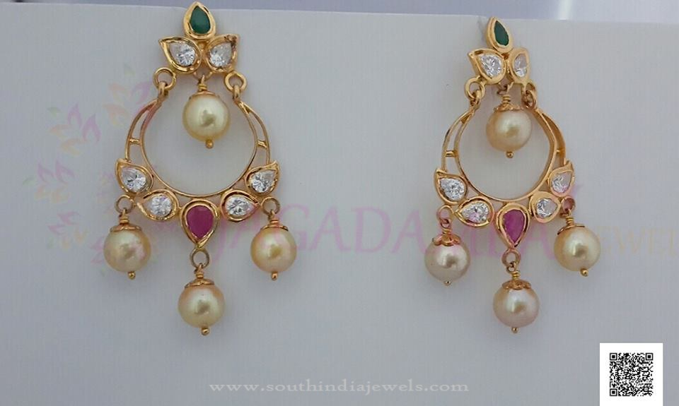 Simple Gold Pearl Drop Earrings South India Jewels