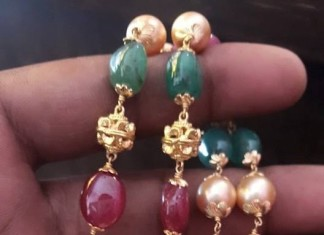 22K Gold Ruby Emerald Mala
