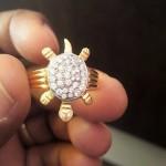 Gold White Stone Earrings