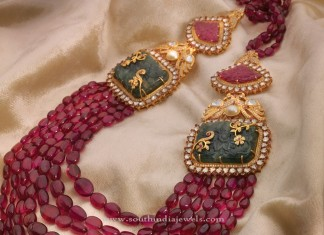 22kt gold ruby necklace set with side locket