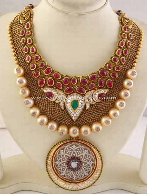 Big Bold Necklace Design South India Jewels