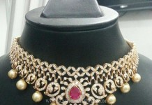 Diamond Choker Necklace with South Sea Pearls
