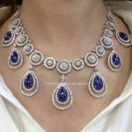 Diamond Necklace with Sapphire Stones