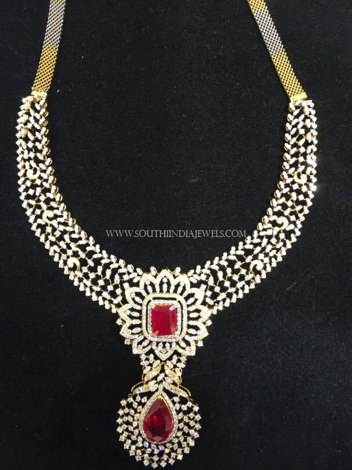 Diamond Necklace with Rubies