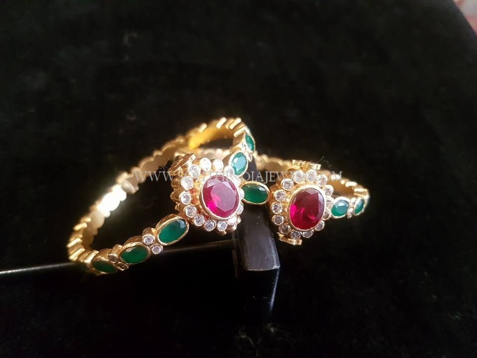 Gold Antique Emerald Bangles
