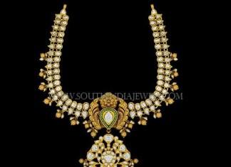 Gold Antique Stone Attigai Necklace