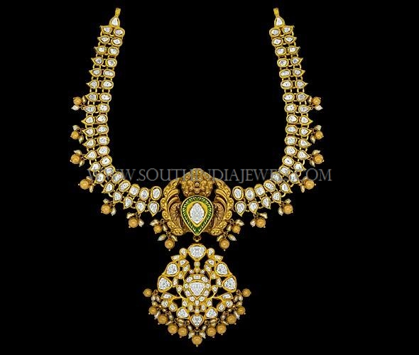 Gold Antique Stone Attigai Necklace