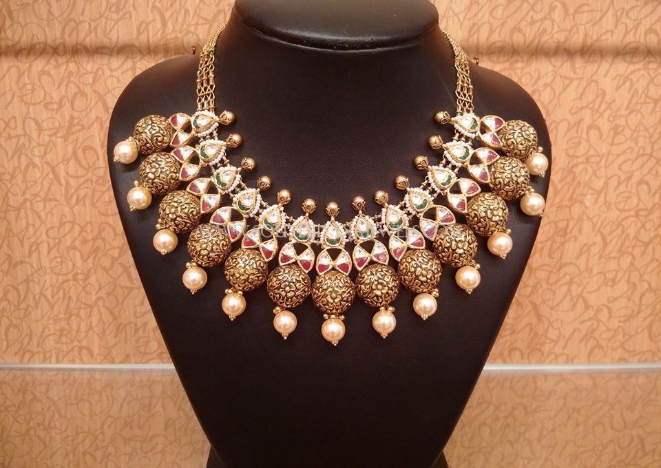 Gold Designer Kundan Necklace