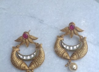 Gold Matt Finish Antique Earrings