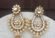 Gold Pearl Spike Earrings