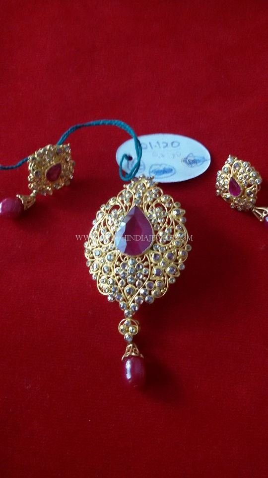 Gold Ruby Pendant Set with Earrings