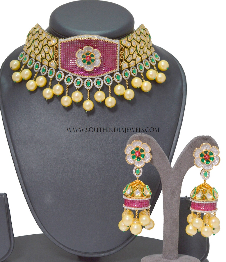 Imitation Kundan Choker With Jhumka