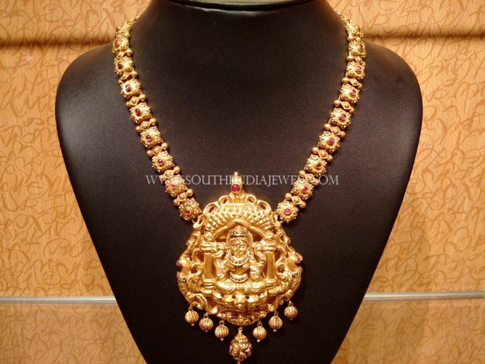 Medium Length Gold Lakshmi Haram