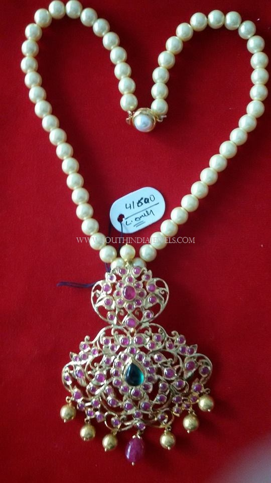 Gold Pearl Necklace with Ruby Pendant