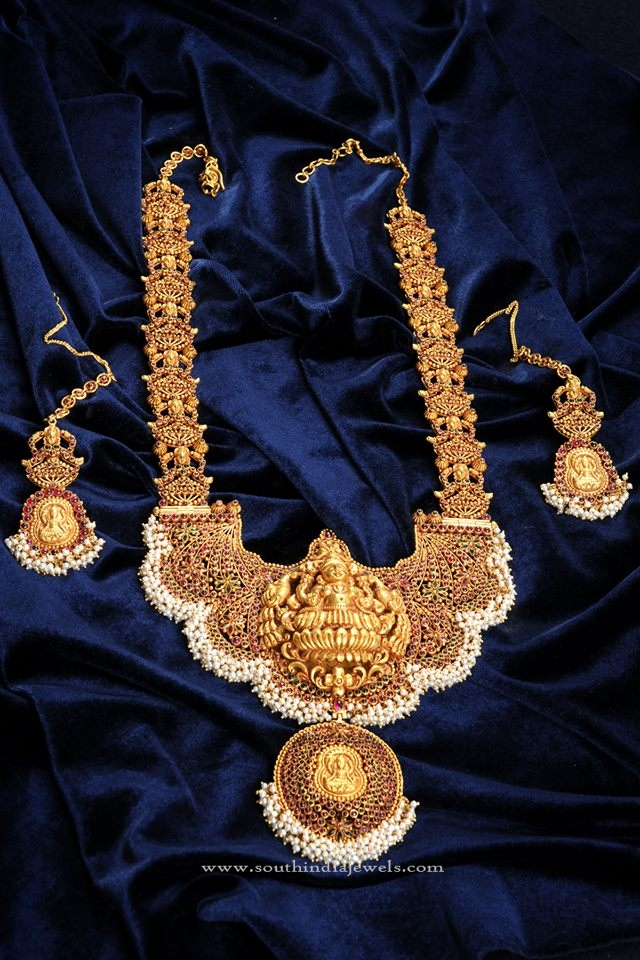 Stunning Temple Jewellery Haram Design South India Jewels