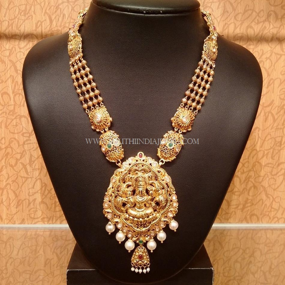 Traditional Gold Lakshmi Haram Design