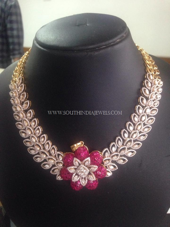 Diamond Necklace with Floral Pendant