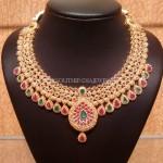 Gold CZ Ruby Emerald Choker