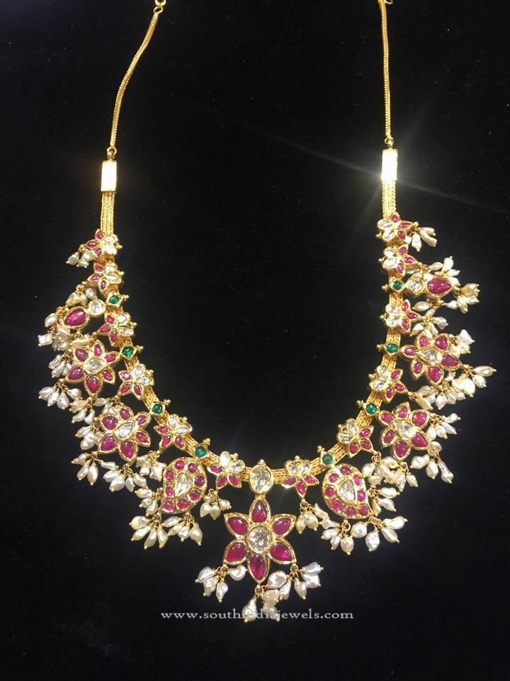 Gold Guttapusalu Necklace with Vajra Jewellery