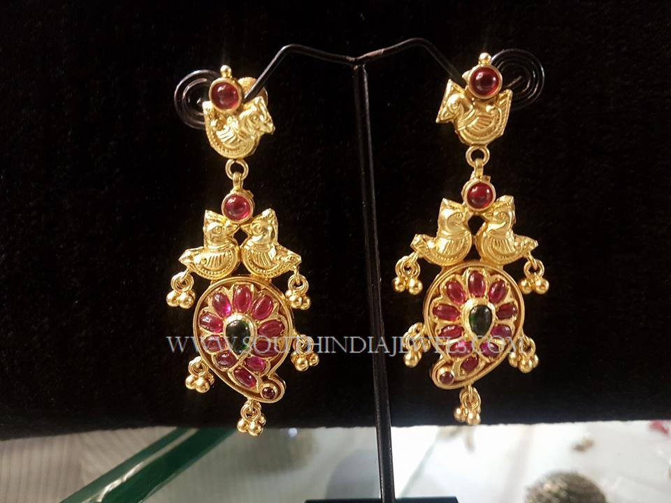 Gold Plated Silver Peacock Earrings