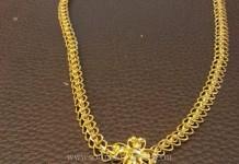 Simple Gold Ruby Attigai Necklace