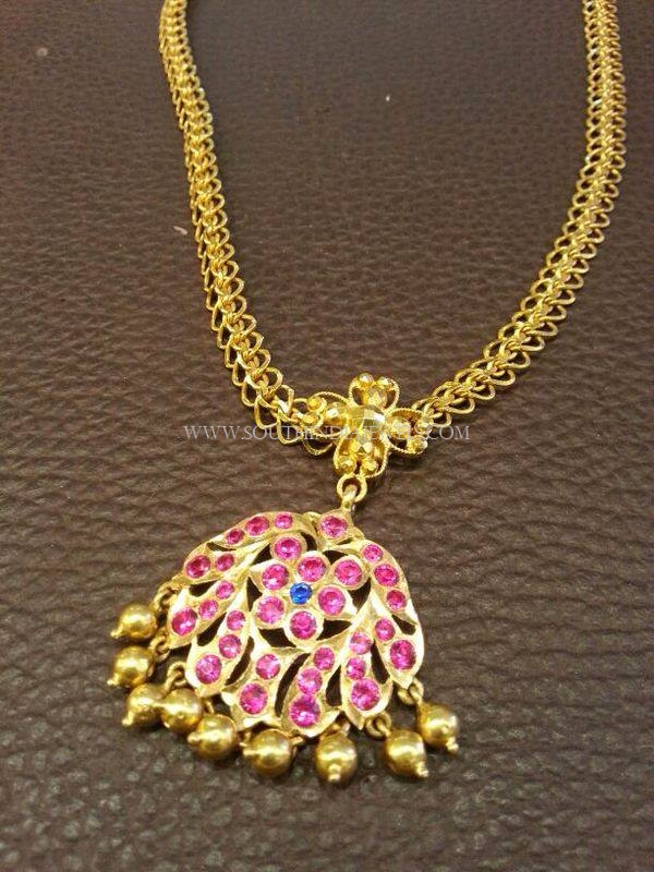 Simple Gold Ruby Attigai Necklace