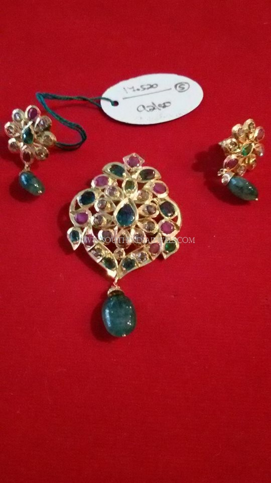 Gold Ruby Emerald Pendant Set