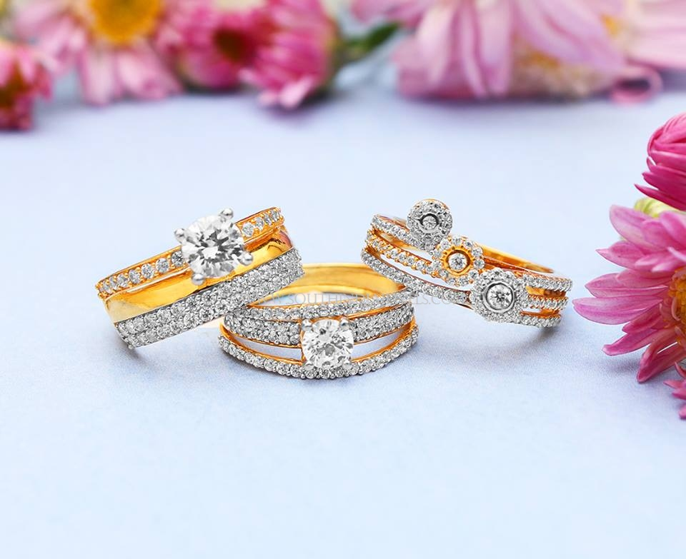 Gold American Diamond Ring Designs