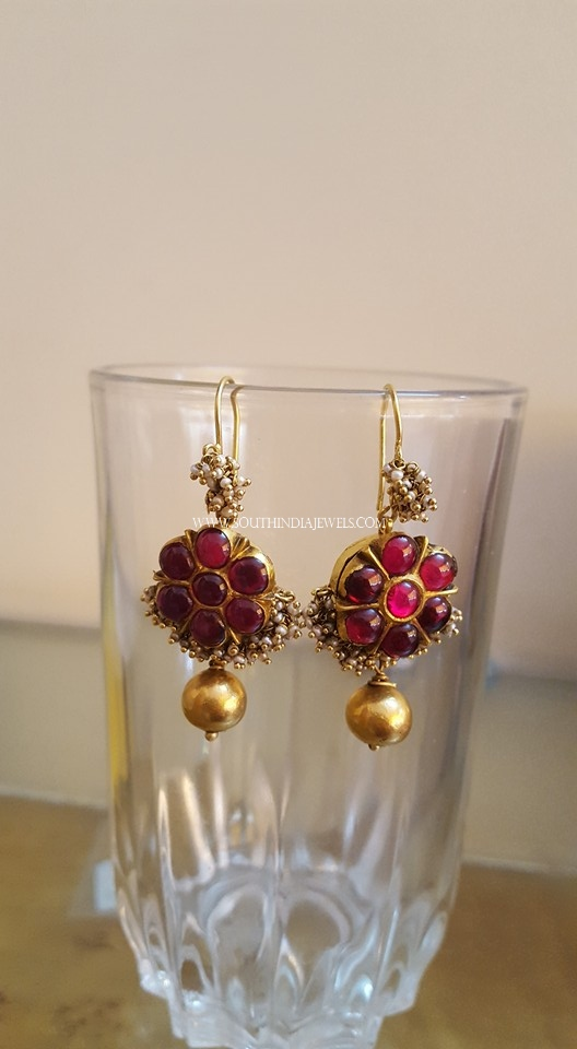 Antique Ruby Hoop Earrings