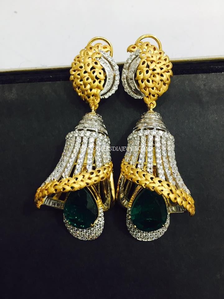 jhumkas designs jhumka diamond flat peacock jewellery