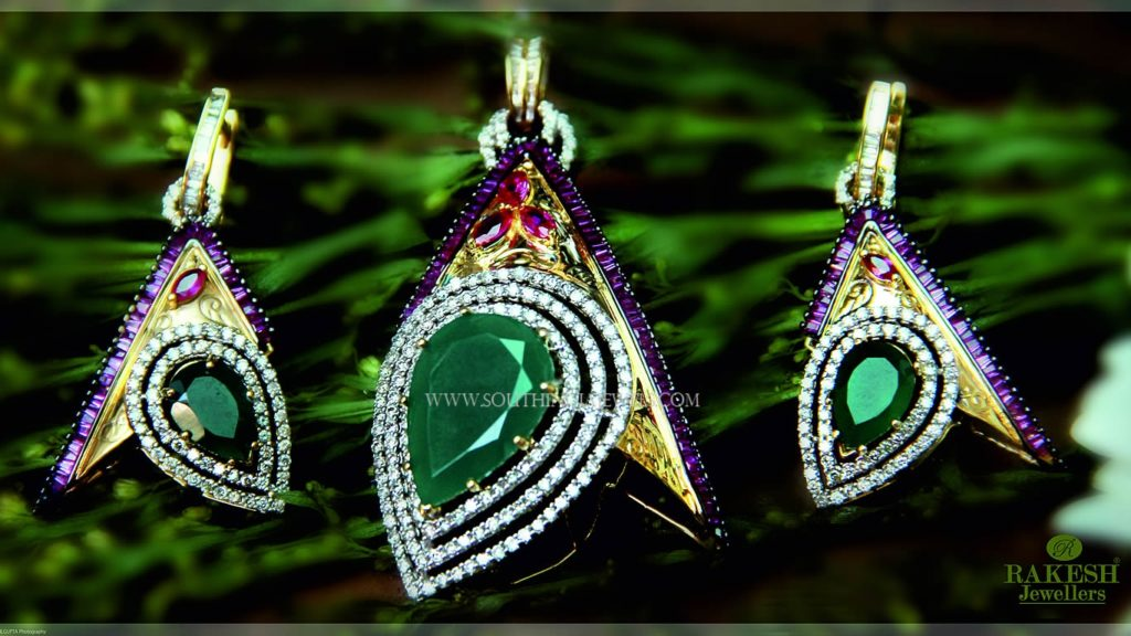 Designer Diamond Pendant Set From Rakesh Jewellers