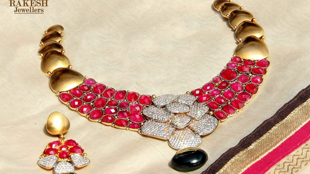 Diamond Ruby Necklace Set from Rakesh Jewellers