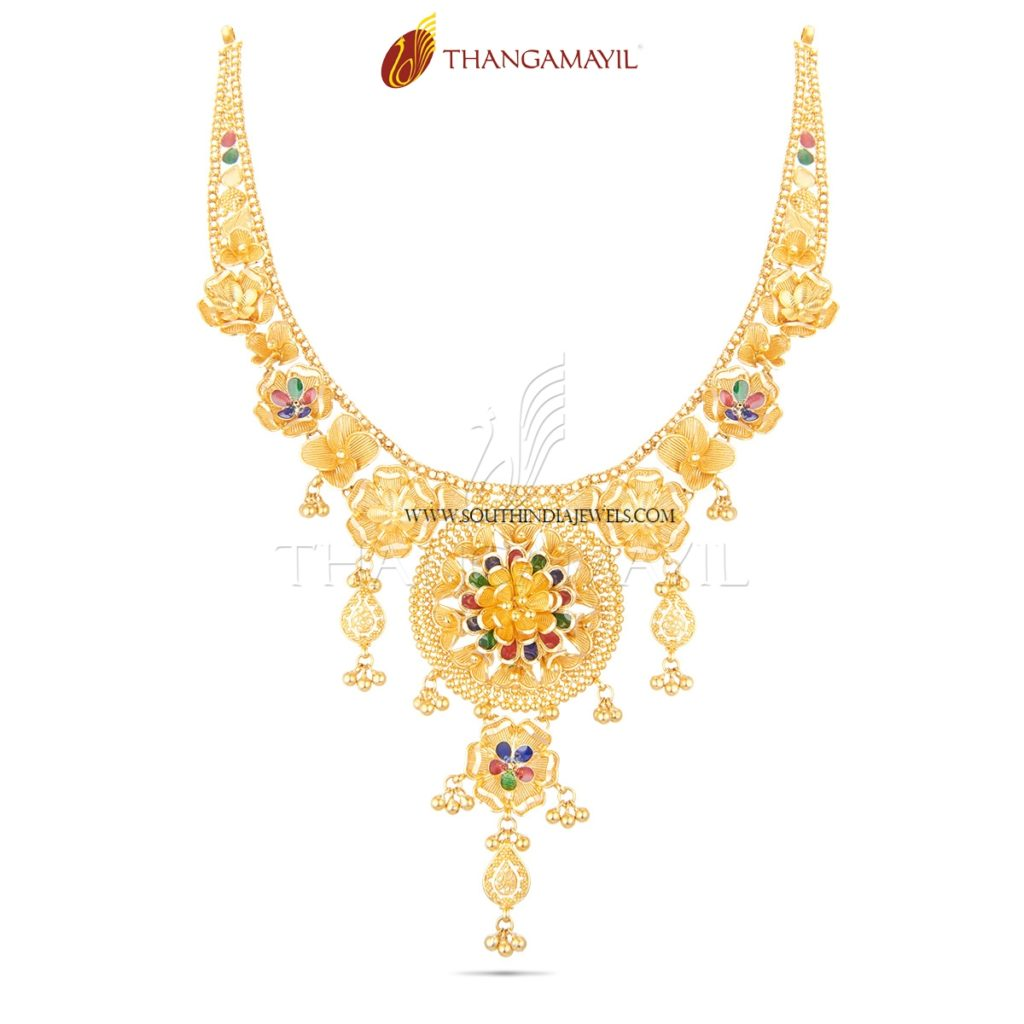 Gold Enamel Necklace From Thangamayil