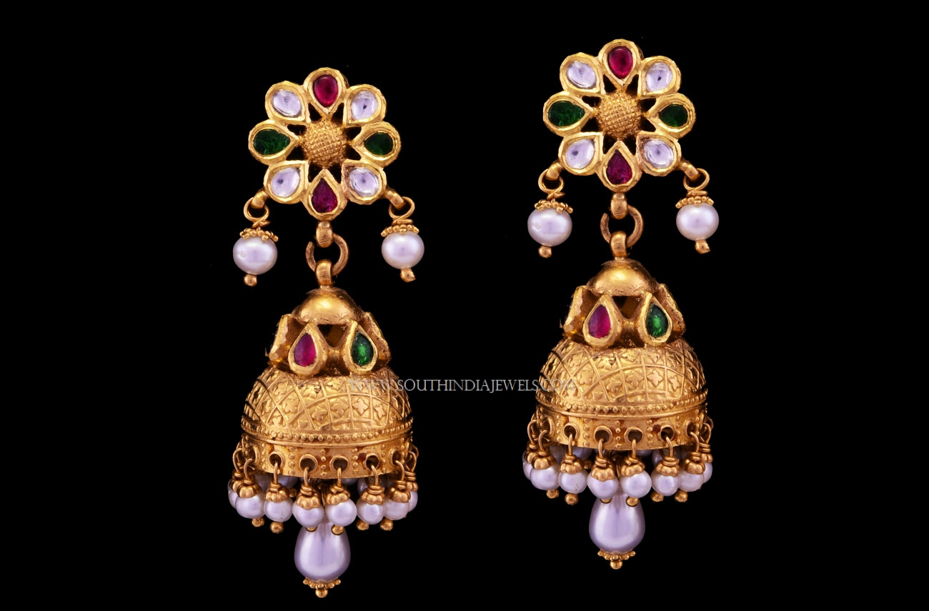 And contemporary gold jhumkas collection by khazana jewellery -  Latest Gold Antique Jhumka 2017 Design