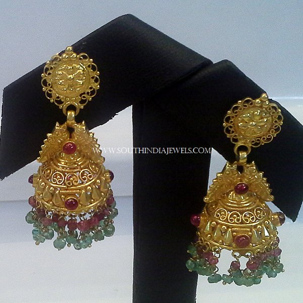 Gold Antique Jhumka From New Sri Vasavi