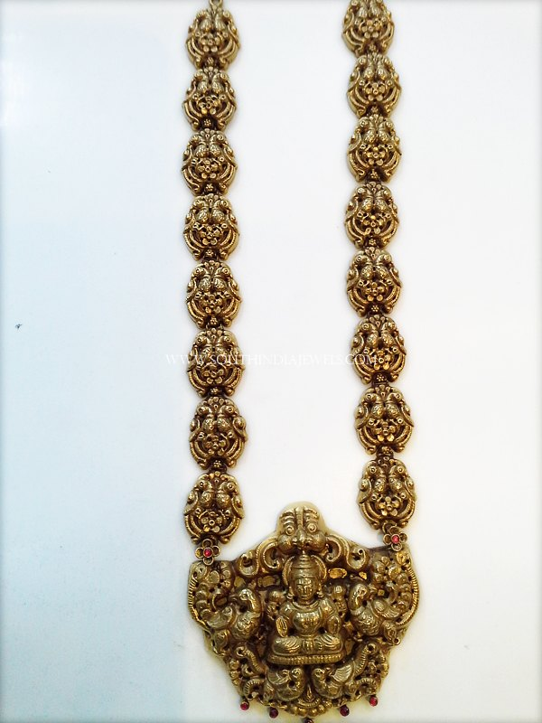 Gold Antique Long Haram With Temple Pendant