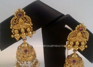 Gold Antique Pearl Jhumka
