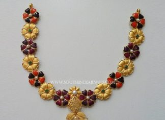 Gold Designer Enamel Necklace