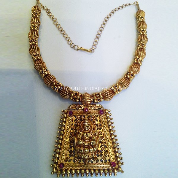 Gold Designer Short Temple Necklace