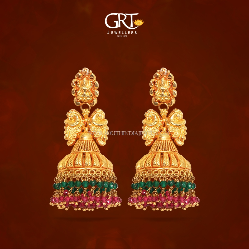 Gold Antique Temple Jhumka From Grt South India Jewels