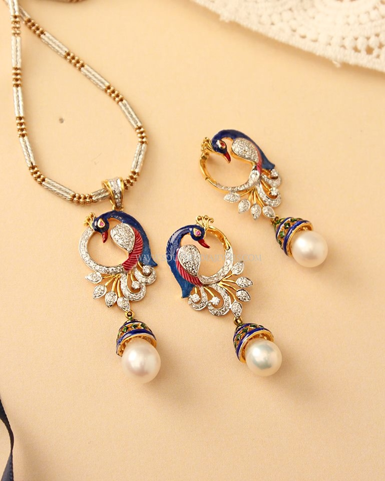 Gold Peacock Set From Manubhai Jewellers