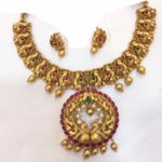 Gold Plated Antique Peacock Necklace Set