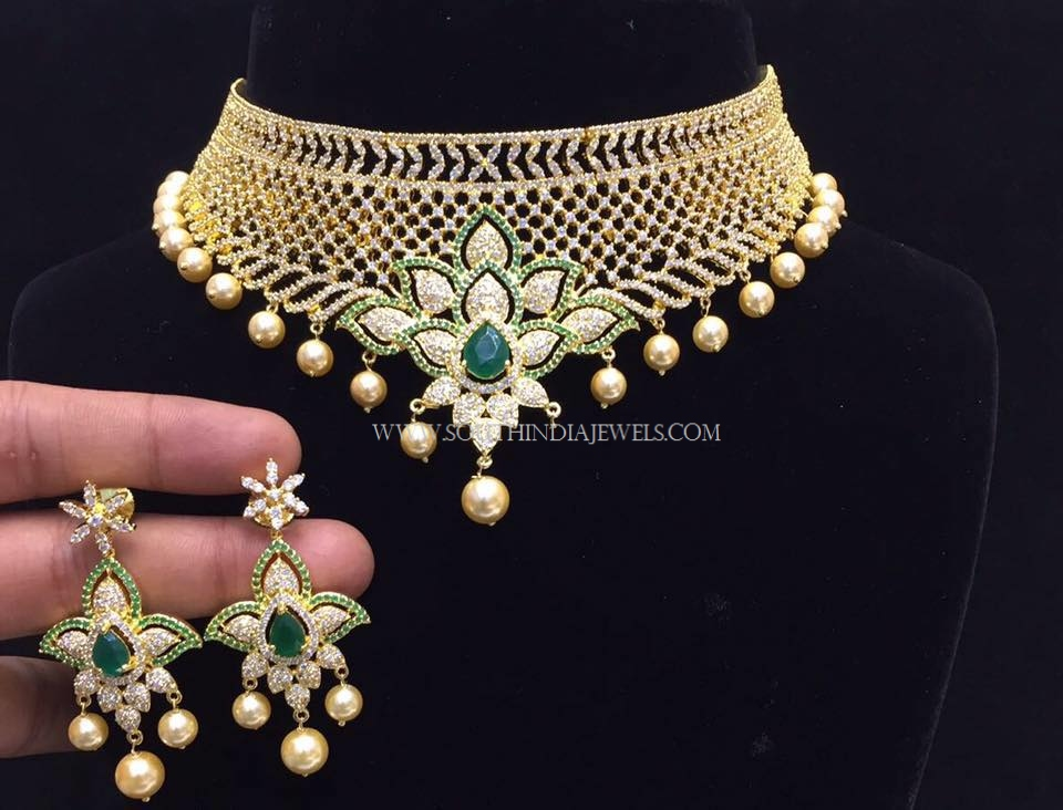 Gold Plated Choker Set With Green Stones