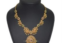 Gold Plated Stone Necklace Set With Earrings