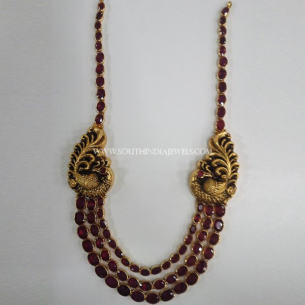 Gold Two Layer Ruby Necklace